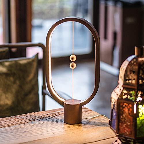 Rabusion LED-Nachtlicht, magnetisch, hängend, Gleichgewichtslampe, Heimdekoration, Schlafzimmer, Büro, Leselampe, Warm Yellow Light Black Walnut Oval -