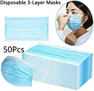 50pc Face Mask 3Ply Masks with Comfortable Earloop Germ and Virus Protection and Personal Health