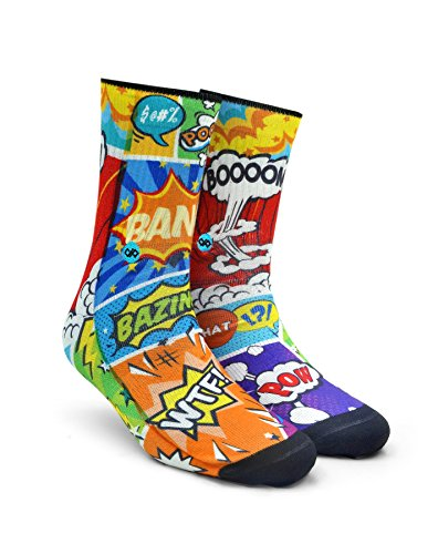 Dynamocks Comic Crash Unisex Crew Socks (Large(9 and above))