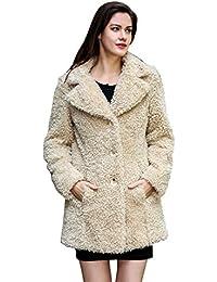 Leggera giacca invernale Adelaqueen per donna, finta pelliccia shaggy soffice e vellutata