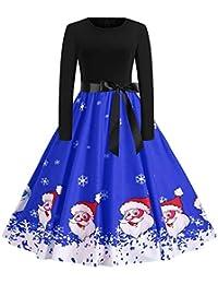 BBestseller-Vestidos de la Vendimia de la Impresión Cuello Redondo Manga Larga del Navidad Vestidos