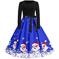 Geili Vintage Weihnachten Kleid Damen Langarm O-Ausschnitt Rockabilly Kleider Festlich Christmas Weihnachtsmann... preisvergleich bei billige-tabletten.eu
