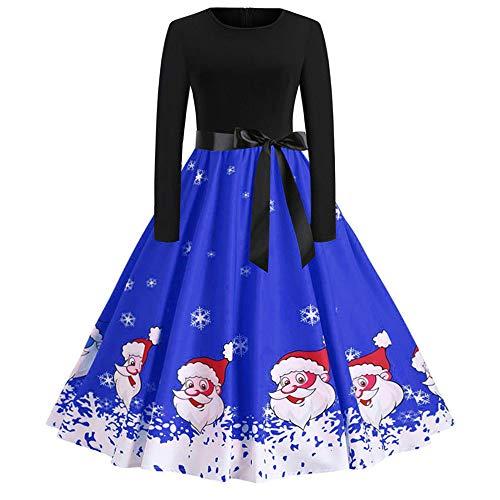 OverDose Damen Frohe Weihnachten Stil Frauen Vintage Print Langarm Weihnachten Abend Party Cosplay Elegante Slim Swing Kleid ()