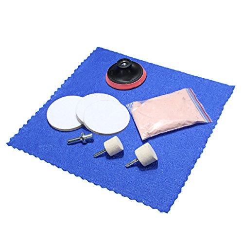 Plat Firm Dissolvant des éraflures en Verre 8Pcs Le kit de Polissage de Poudre d'oxyde de cérium la Roue de 3 Pouces