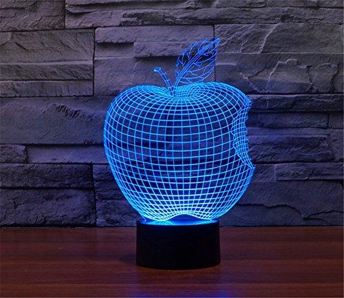SmartEra® Apple 3D Abstrakt Visuelle 7 Arten von Farben ändern Touch Tasten USB Schreibtischlampe