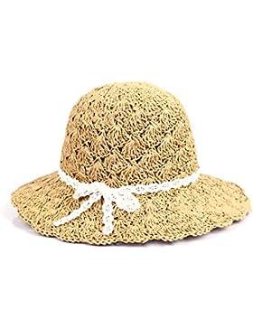 Vococal - Verano Gran Ala Hueco Casquillo del Sombrero de Paja Sol para Playa Mujer,Caqui