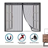 MODKOY Moustiquaire fenêtre, Fenêtre Moustiquaire Magnétique, Automatiquement fermé Pliable Facile à Installer, pour Fenêtre/Portes/Patio - Noir 130x140cm(51x55inch)