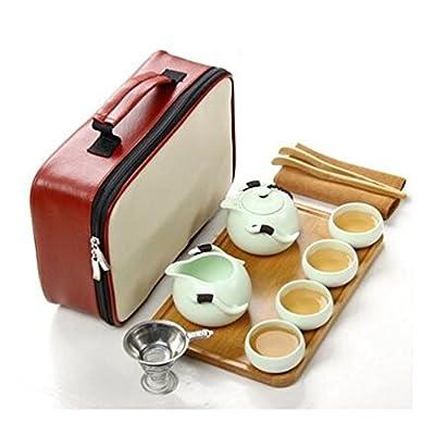 T Tocas(tm) Portable Théière traditionnelle avec Tasses de thé pour Kungfu thé/thé chinois/thé japonais, en Théière en Céramique chinoise, 10/paquet