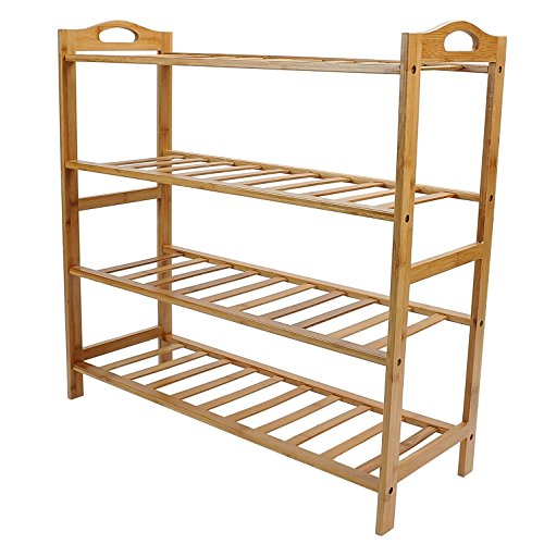 100% Pure Bamboo 4-Tier Shoe Rack Storage Organizer by HOMLEE