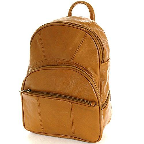 Value on Style Leder-Rucksack, mittelgroß, verwandelbar in einzelne Schultertasche oder Rucksack mit mehreren Organizer-Taschen, Hellbraun