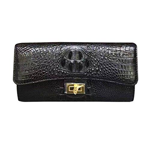 CROCUST Lusso Coccodrillo Donne Borsa di Pelle Vera di Coccodrillo Clutch Bag Moda Swagger Borsa Nero