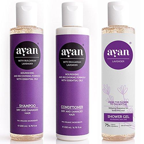 AYAN Naturkosmetik Shampoo + Spülung + Duschgel Set zum Vorteilspreis✔ Frischer Lavendelduft ✔ Bio Wirkstoffe für trockene Haare und Haut ✔ Ohne Silikone Parabene Sulfate