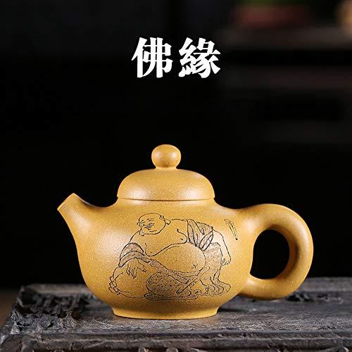 GuoQiang Zhou Teekanne berühmter Meister des Buddhismus in Gold Segment Schlamm von Hand Reise Tee (Color : Golden Section mud, Size : Einheitsgröße)
