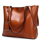 Womens Soft Leather Handbags Large Capacity Retro Vintage Top-Handle Casual Tote Shoulder Bags