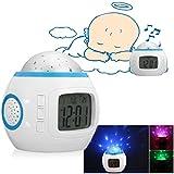 Drillpro Sveglia, Musica Starry Star Sky Sveglia Proiezione/ Alarm Clock,Calendario, Termometro, Snooze, Countdown, Musica, Funzione della Lampadina, Stato di Allarme (Batteria non Inclusa)