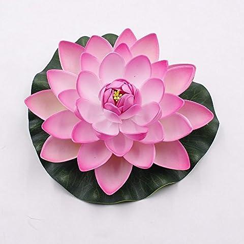 1pcs 17cm Jardin Décoration faux artificiel en mousse Fleur de Lotus Fleurs de Lotus Nénuphar Piscine flottante Mariage Décoration Jardin Plantes
