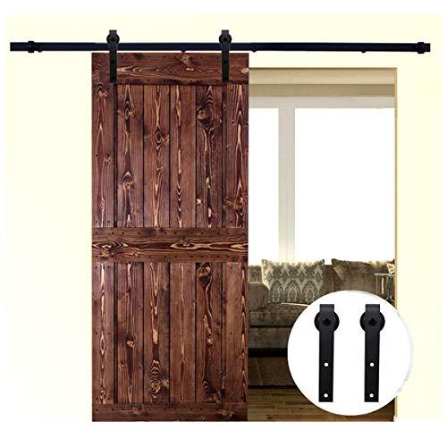 LWZH Retro 10.5 ft Schiebetür Barn Hardware Kit für einzelne Tür mit Innen Closet Schranktür TV Track Set (schwarz J Kleiderbügel)
