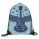 Ejjheadband Music Duvet Cover Set Twin Size, Let The Music Be Your Pilot Quote Winged Electronic Guitar and Stars Retro Print,Dark Blue_2Drawstring Shoulder Backpack