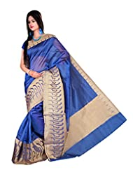 "Asavari ""SIGNATURE"" : Royal Blue Supernet Cotton Banarasi Saree With Rich Zari Border"