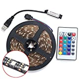 CALISTOUS 2M 5V 5050 60SMD/M RGB LED Strip Lamp Bar TV Back Lighting Kit USB Remote Control Black