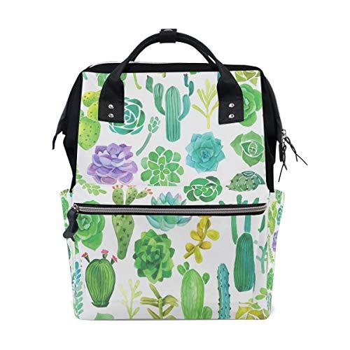 Schöne grüne Aquarell Oase Kaktus Große Kapazität Windel Taschen Mummy Rucksack Multi Funktionen Wickeltasche Tasche Handtasche Für Kinder Baby Care Travel Täglichen Frauen -