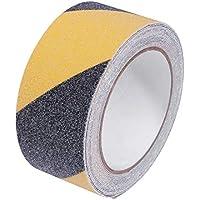 UKCOCO Cinta de seguridad antideslizante negra y amarilla Grip de abrasión segura alta tracción Grip 2 pulgadas por 16,4 pies para interiores y exteriores