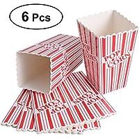 BESTONZON 6PCS Plus Size Popcorn Boxes Bags, Stripes Popcorn Boxes para fiestas, dulces,
