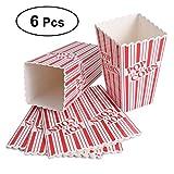 BESTONZON Scatole di popcorn a strisce colorate (6 scatole) - Scatole di popcorn di carta cinematografica - Ottime per feste a tema di compleanno e teatro, carnevali ecc. (Rosso)
