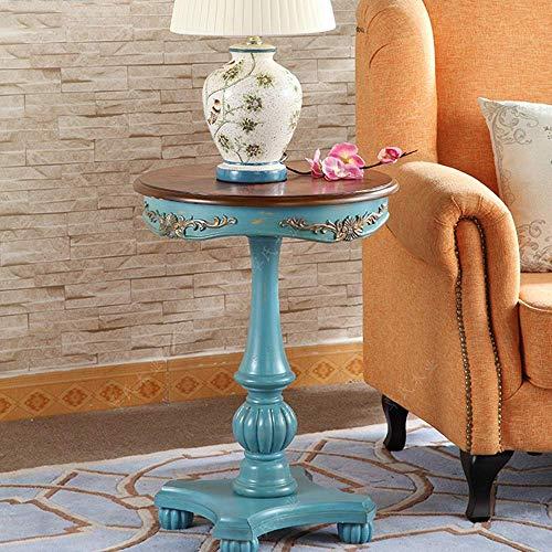 MJK Tisch, Heim-Beistelltisch, bemalter Garten-Couchtisch, europäischer runder Tisch, Vintage-Sofa-Beistelltisch, altes Telefon - Werkbank,Blau