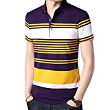 Mode Herren Kurzarm Casual Shirts Baseball Fan Polo-Shirts,Yellow-L