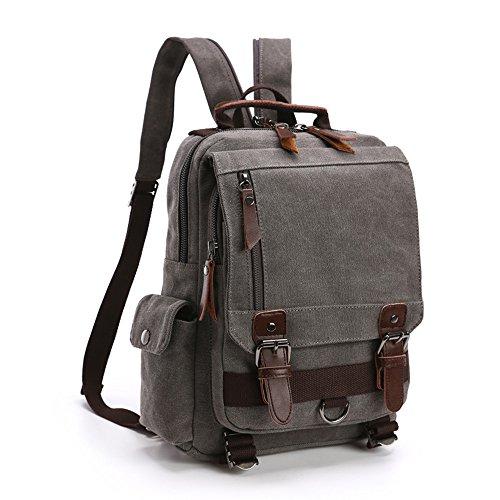 LOSMILE Zaino Uomo donne Zaini Tela Zainetto Borsa a Tracolla Borsa di Tela Sacchetto del Messaggero Sacchetto di Messenger bag Backpack. (Grigio)