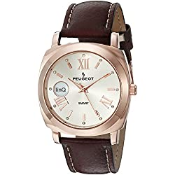 Peugeot linQ 14K Rose Gold Plated Bluetooth Smart Connected to Mobile Phone Brown Leather Dress Watch