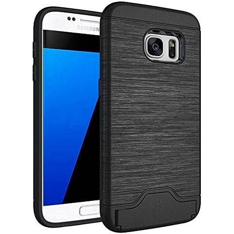 Galaxy S7 Custodia , ivencase Nero Durevole [Shockproof] [Extra Grip] Ibrido Case con [Card Slot & Holder] Stand Protettiva Cover Perfetta per Galaxy S7 5.1