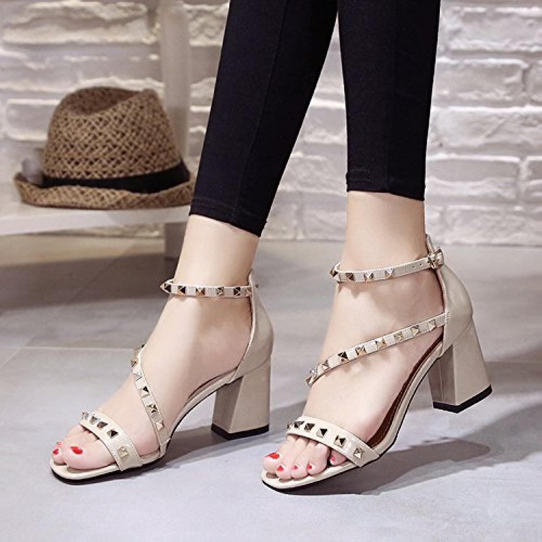High Heel Sandals, Remaches, Tacon, Botones,Beige,Eu36Cn37