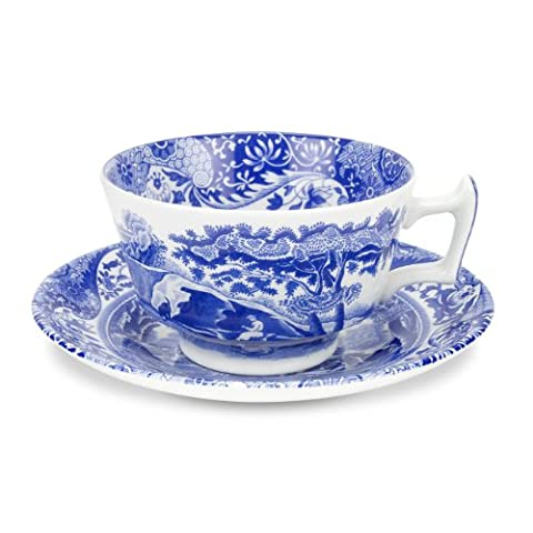 Spode Blue Italian Teacup and Saucer, Set of