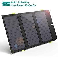 GIARIDE 21W Portable Solar Ladegerät Schnellladung 3 USB 6000mAh Akku SunPower Solar Panel Faltbare Power Bank für iPhone X / 8/7/6 / Plus, iPad, Galaxie, LG, Pixel, Tablet, Reisen, Wandern