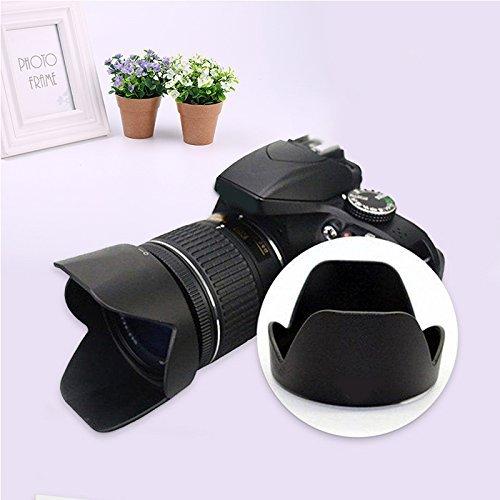 Cewaal Hongfei Digital Tulip Blume Gegenlichtblende, Gegenlichtblende Schutz Ersetzen für Nikon D3300 D5500 18-55mm f / 3.5-5.6G SLR Kamera Collapsible Rubber Lens