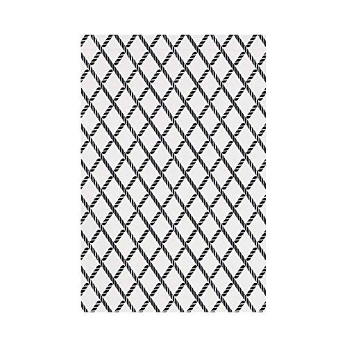 gthytjhv Geometric Checkered Rope Pattern Maritime Themed Fish Net Shape Nautical Inspirations Decorative Dark Blue White House Garden Family Event Decoration