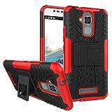 SMTR Asus Zenfone 3 Max ZC520TL (5.2) Case Dual Layer Custodia ibrida Rigida Morbido Armatura resistente agli urti con Supporto e asportabile di protezione per Zenfone 3 Max ZC520TL Rosso