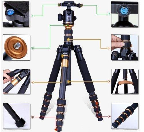 Best Price TaiChuDa® Q-666C Profesional Photography Carbon Tripod Monopod Kit & Ball Head Compact Travel For DSLR Camera Canon Nikon Petax Sony TCD04 Discount