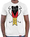 HARIZ  Deutschland Fussball Collection Herren T-Shirt Weiß Designs Wählbar Trikot Weltmeisterschaft EM Inkl Urkunde Bang Sticks WM 046 Deutschland Smoking XL