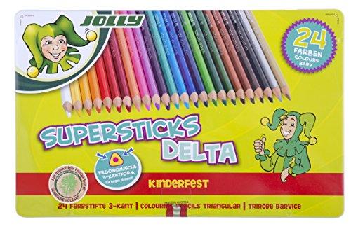 Jolly Superstick Buntstifte DELTA | Dreikant Farbstifte | Kinderfest und Bruchsicher | Ungiftig | 24 Stück im Metalletui