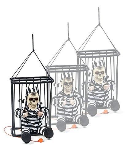 Halloween Figur Sträfling Im Käfig, spricht, leuchtet und bewegt sich auf Knopfdruck, 2 rote LEDs, Höhe ca. 27 cm