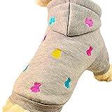 SAMGU Cappotto Giacca per Animale Domestico Cane Vestiti Maglione con cappuccio Imbottito Abbigliamento color grigio size XX-Small