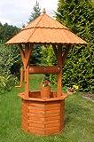Deko-Shop-Hannusch Puits décoratif en bois enduit 1,90 m avec toit 97 x 97 cm