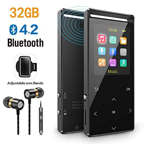 MP3 Player, 32GB MP3 Player mit Bluetooth, FM, FM-Record, AUX-Record,Armband, Schrittzähler, HiFi,Zufallswiedergabe, Sleeptimer, Schwarz, Matt,Geschenkverpackung