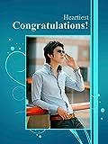 "Personalized CONGRATULATIONS Picture Photo Greeting Card - Blue Colour (6"" x 8"") - 2 Pcs"