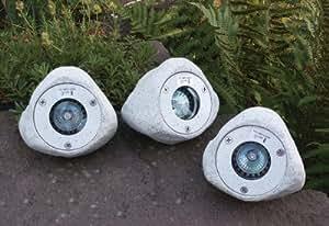 Heitronic beleuchtete steine 3er set granit for Steine baumarkt