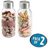 mDesign 2er-Set Futterbehälter für Hunde und Katzen – Futterspender aus BPA-freiem Kunststoff mit Schraubdeckel – geeignet für je 1,6 Liter Nass- oder Trockenfutter – durchsichtig