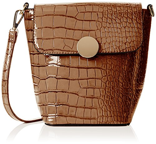 SwankySwansTrudi Gold Patent Leather Shoulder Bag Tan - Borsa a tracolla donna Brown (Tan)